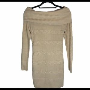 WoW Couture Cowl Neck Sweater Dress Camel S